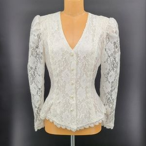 Vintage Lace Long Sleeves Fitted Button Up Blouse